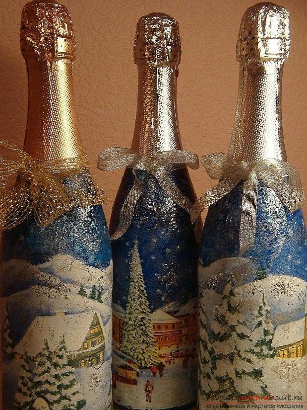 Painting on the glass bottles on the theme of New Year themes with their own hands - a master class. Photo №1