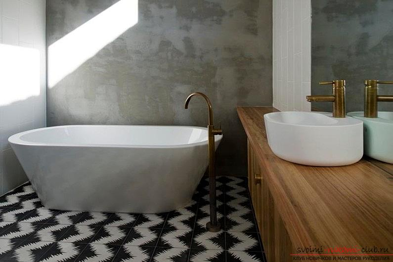 Tile on the floor, how to lay ceramic tiles on the floor with their own hands, the original floor design options .. Photo # 4