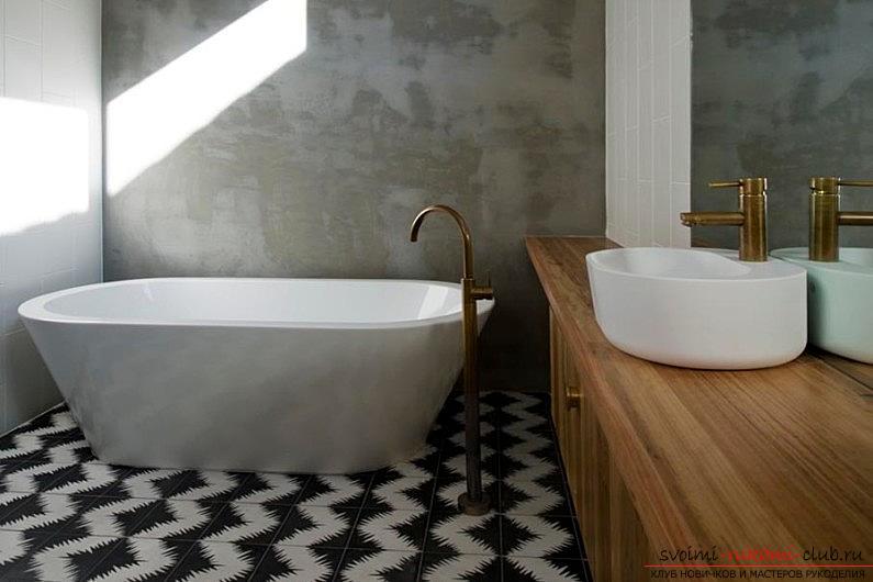 Плочка на пода, как да поставите керамични плочки на пода със собствените си ръце, оригиналните опции за оформление на пода .. Снимка # 4
