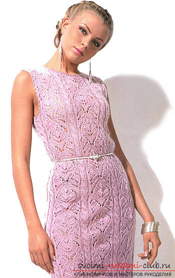Quickly and easily knit a light purple summer dress. Photo №1