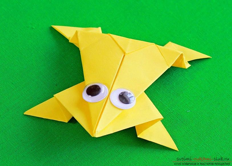 A simple frog lesson with your own hands for origami technique - how to make a frog ?. Photo # 2
