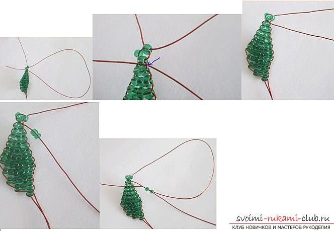 How to make a lilac branch of beads, step-by-step photos and a description of several weaving techniques for beaded floristics. Photo Number 19