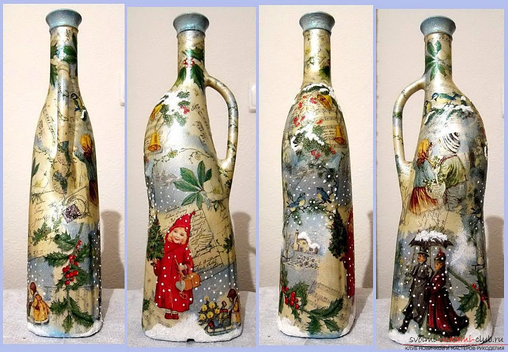 Decoupage bottles with normal napkins. Picture №3