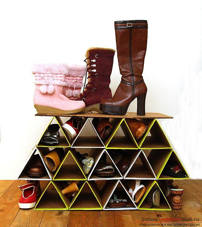 Unusual ideas for home, tips and advice on creating a shoe organizer made of cardboard with your own hands. Photo # 4