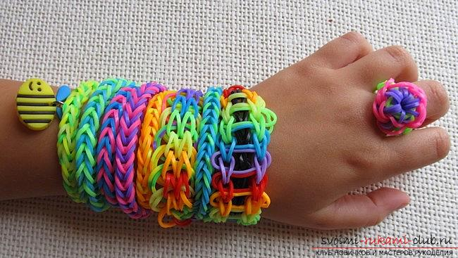 Kinds of bright bracelets of rubber for weaving their own hands with photos and descriptions. Photo №7