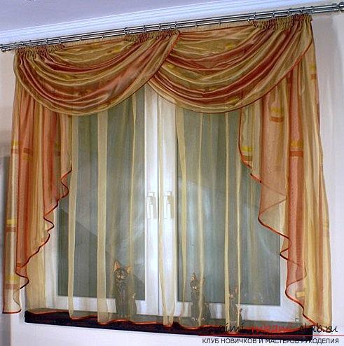 Шиете леки въздушни завеси за кухнята, като стая в уютен и топъл дом може да бъде няколко часа от organza със собствените си ръце. Снимка №1