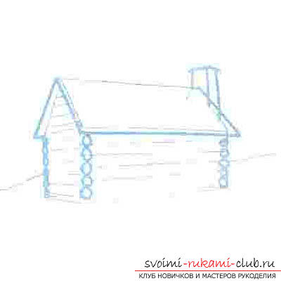 Drawing a wooden house in several stages for beginners. Photo №6