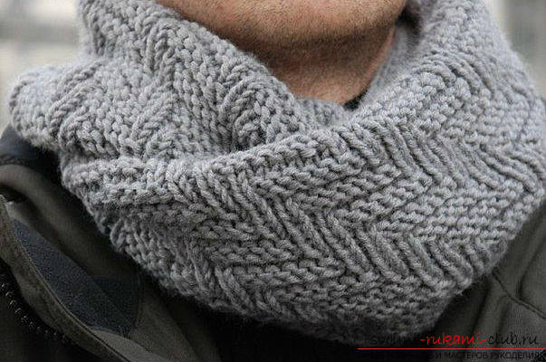 Knitting with knitting needles, a scarf scheme, how to tie a scarf with knitting needles, a scarf-snud scheme, a scarf-collar with knitting needles, tips, recommendations, detailed descriptions and photos of finished products .. Photo # 11