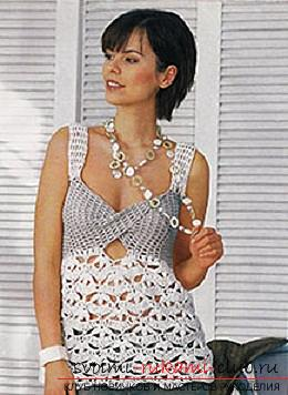 How to tie summer female t-shirts with crochet with patterns, patterns and description of work .. Photo # 4
