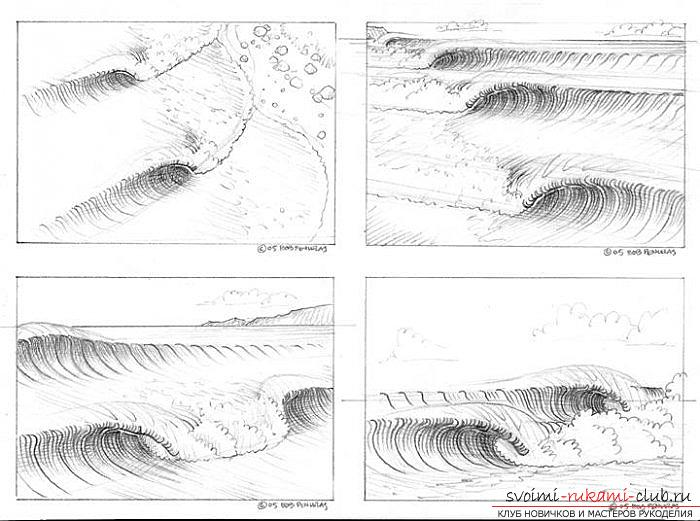 Lesson of drawing a sea wave. Photo number 17