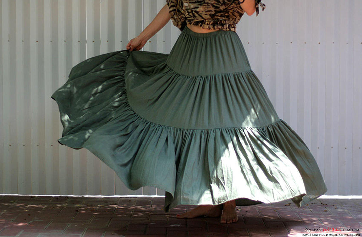 Scheme pattern from Burda magazine skirts in the floor of the three flounces. Photo №4