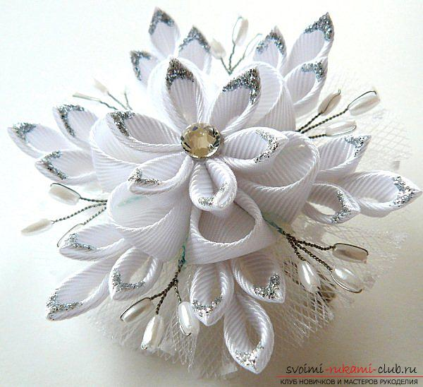 How to make a snowflake Kanzashi with their own hands for the New Year 2016. Photo # 11