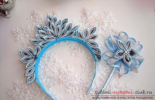 How to make a rim decoration for the hair in the form of turquoise flowers in Kansas technique, free, detailed photos and description. Photo Number 11