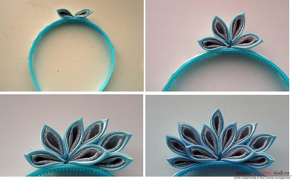 How to make a rim decoration for the hair in the form of turquoise flowers in Kansas technique, free, detailed photos and description. Photo Number 14