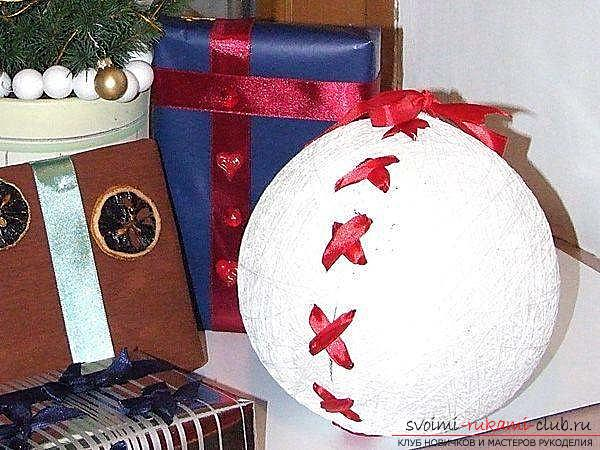 How to make magic Christmas balls of thread. Photo №5