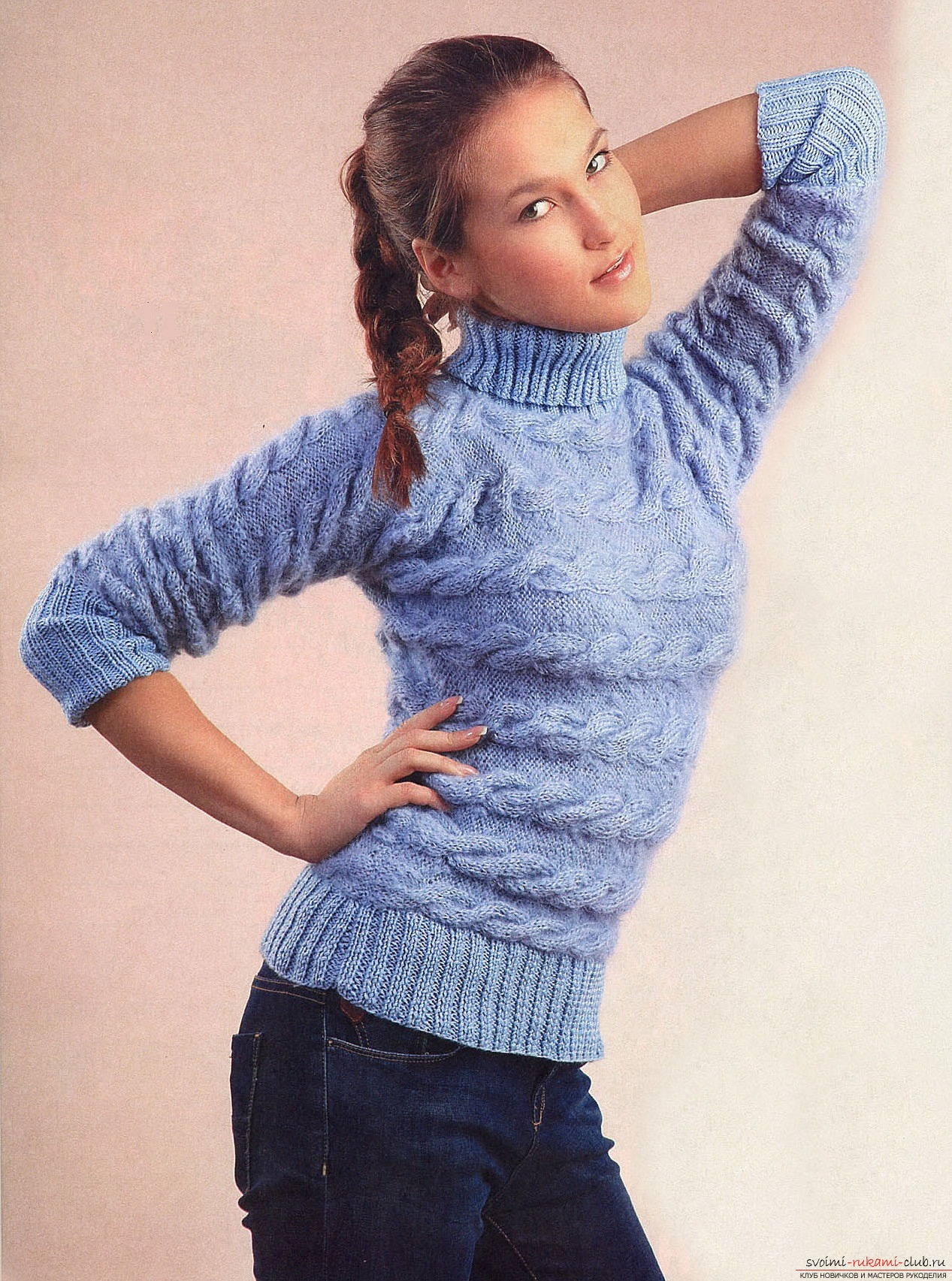 Knitting pattern of pullover from mohair with knitting needles. We will teach everyone to knit a mohair pullover with their own hands. Photo №1