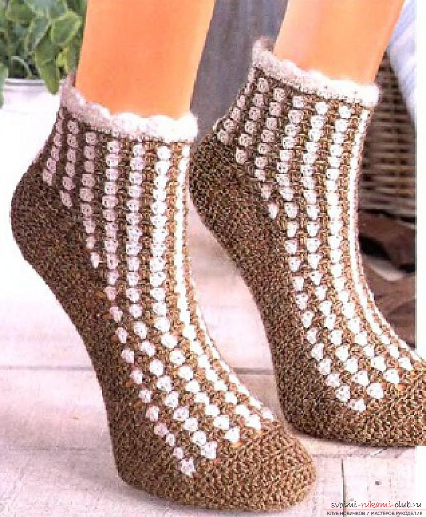 crocheted beautiful home-made socks. Picture №3
