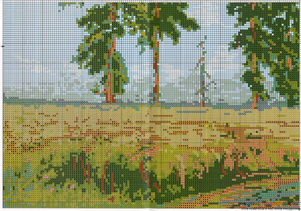 Cross-stitch embroidery of landscapes with schemes for beginners. Photo # 2