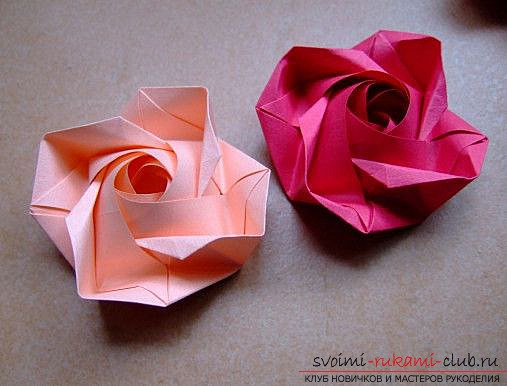 Rose-origami paper. Simple hand-made origami for free .. Picture №3