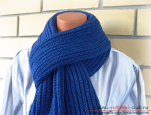 We knit a man's scarf with an English rubber band. Photo №1