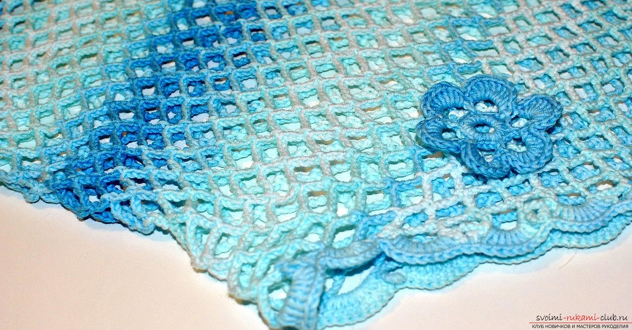 The pattern of an ordinary mesh crochet with your own hands is a knitting pattern and a master class. Photo №4