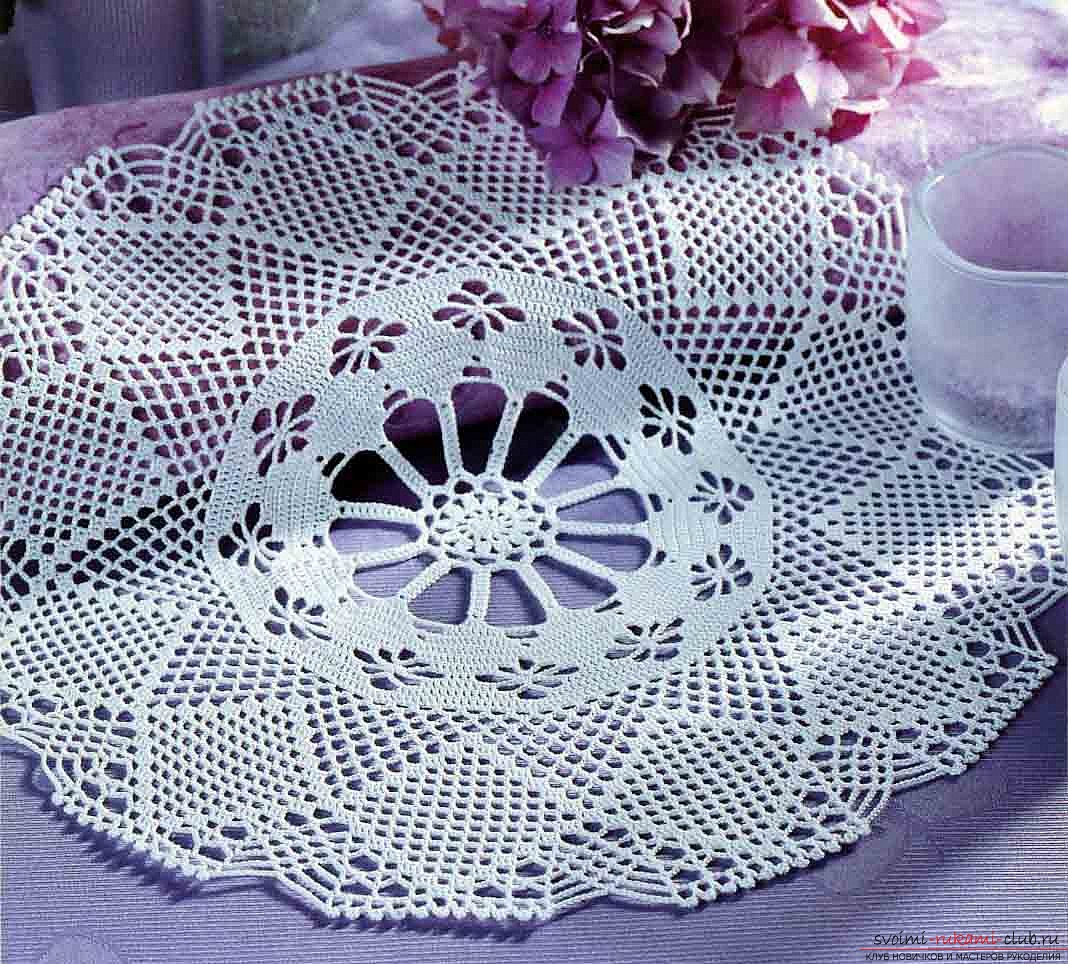 crocheted lace napkin for home. Photo №6