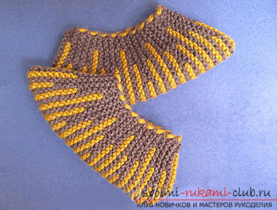 How to tie comfortable slippers-blind with knitting needles. Picture №10