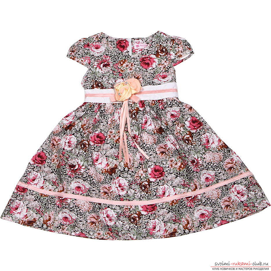 make a simple pattern of dresses for the girl with their own hands. Photo №5