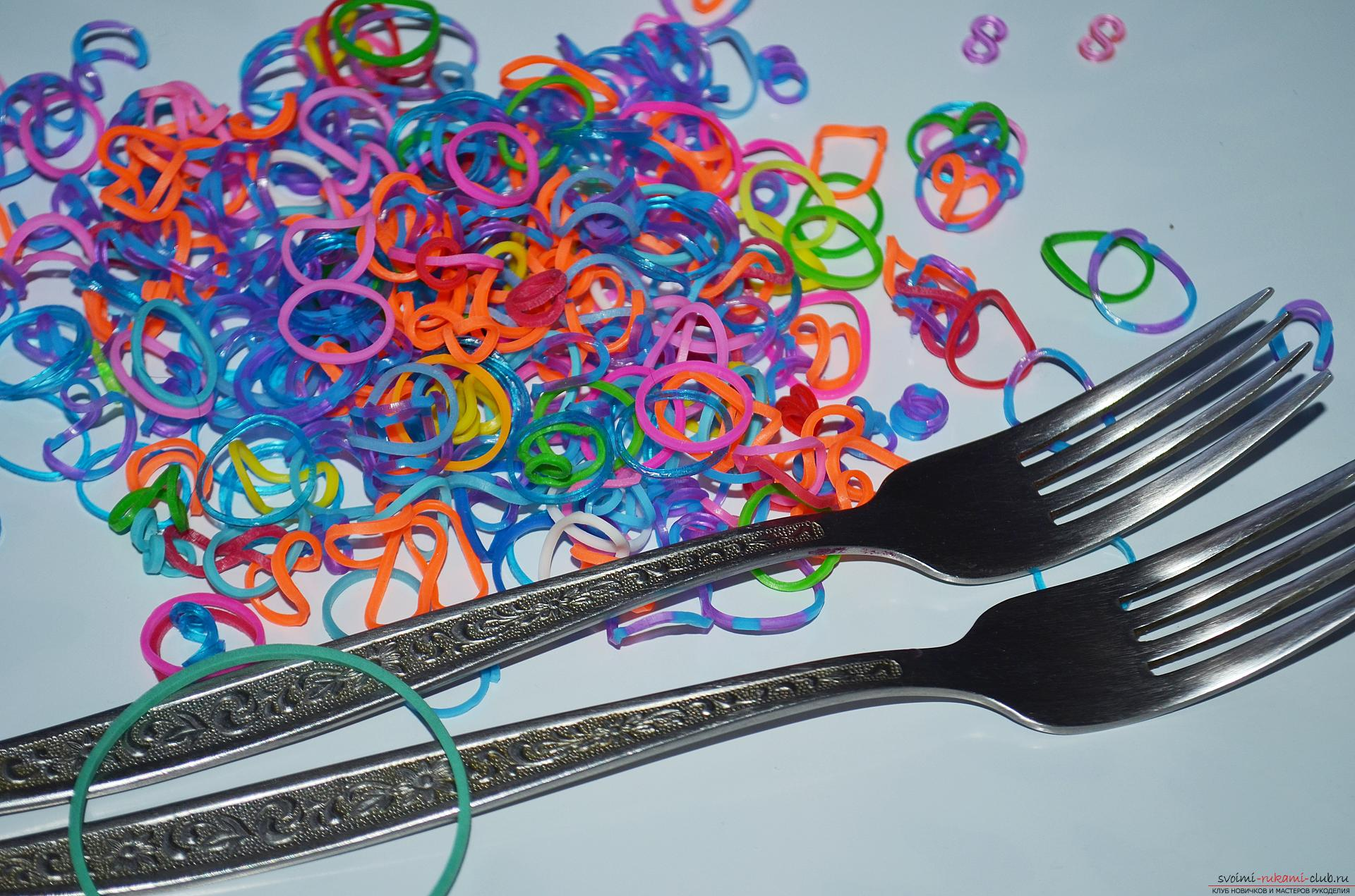 """Photo by weaving a wide bracelet on the forks """"Rainbow"""". Photo №1"""