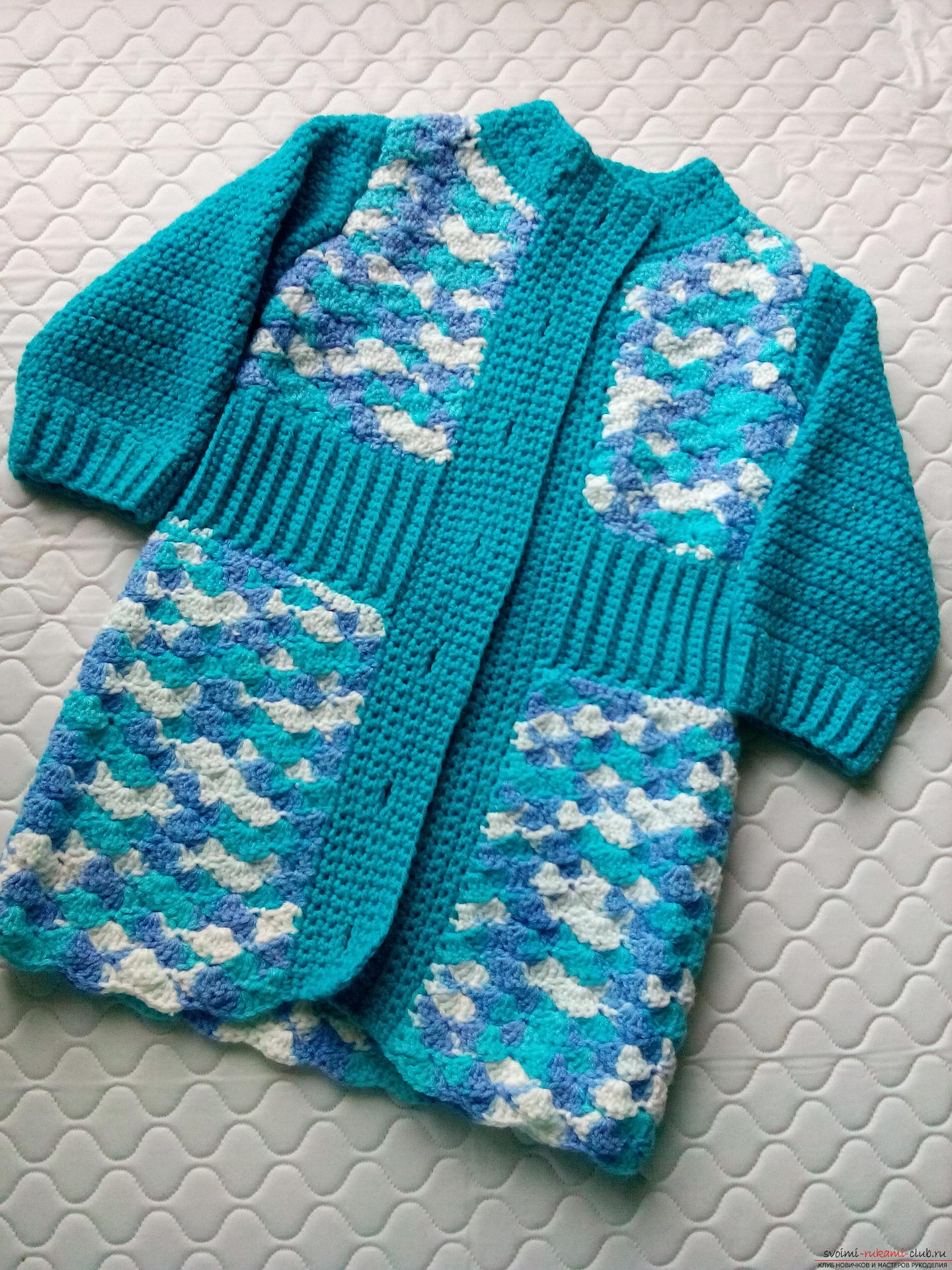 A lesson on knitting a baby coat with your own hands, photo and description of steps. Photo number 16