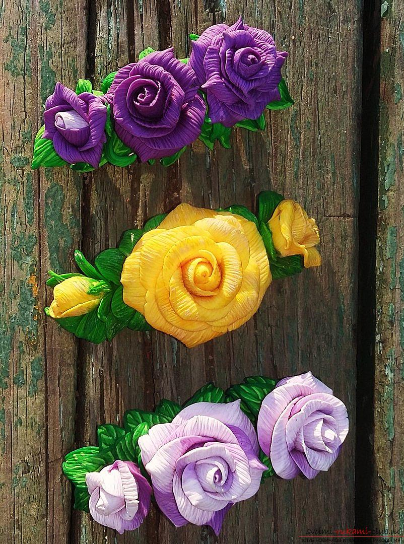 Flower hairpins made of polymer clay. Photo №1