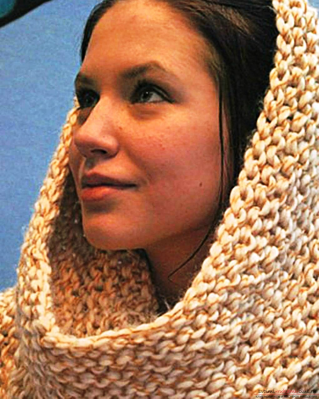 knitted knitting needles with a delicate openwork scarf-yoke. Photo №5