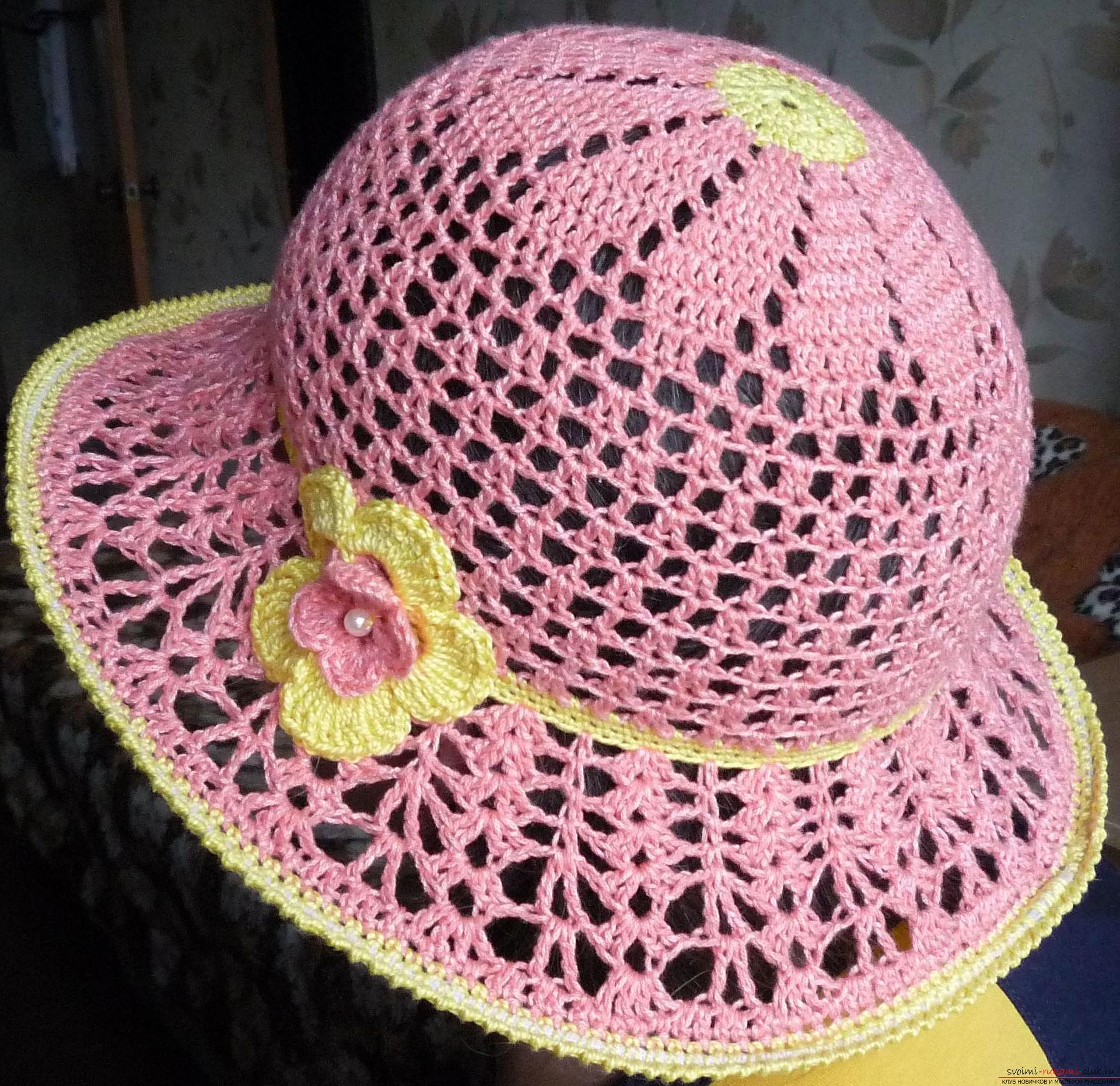 This detailed master class contains crochet lessons for beginners and will teach how to crochet a summer hat .. Photo # 32
