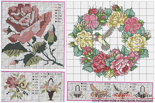 Embroidery of scarlet roses on cushions according to schemes. Picture №3