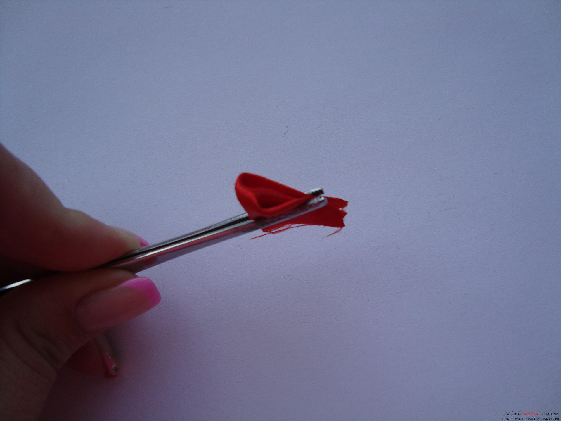 Step-by-step instruction on how to make a satin flower. Photo №7