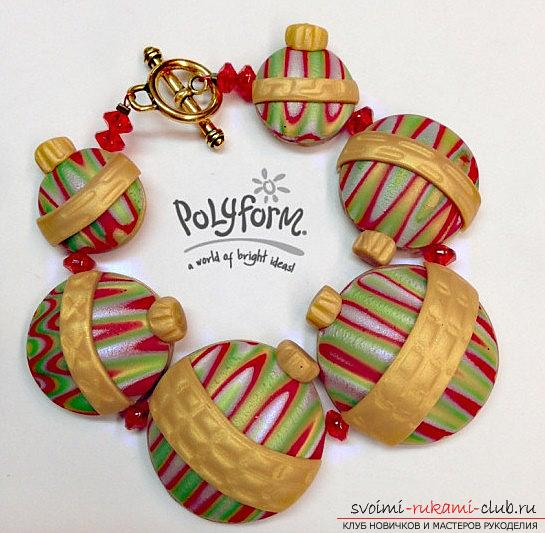 Christmas tree beads made of polymer clay for New Year's holidays - master class modeling. Photo №1