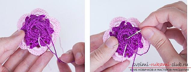 Schemes and a detailed description of how to connect a three-dimensional rose crochet with their own hands .. Photo # 4