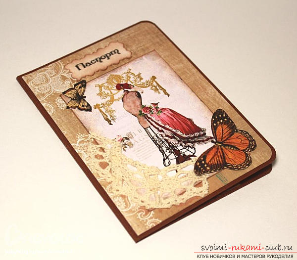 Scrapbooking women's passport passport with flowers and drawings - master class. Photo №1