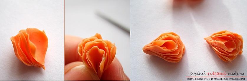 Как да си направим роза от полимерна глина, майсторски клас с подробно описание и снимка .. Снимка # 15