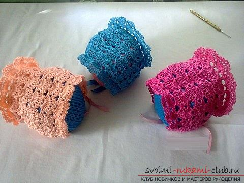How to tie an openwork summer cap for a newborn crochet, a scheme, a description of the work and photos of products. Photo №1
