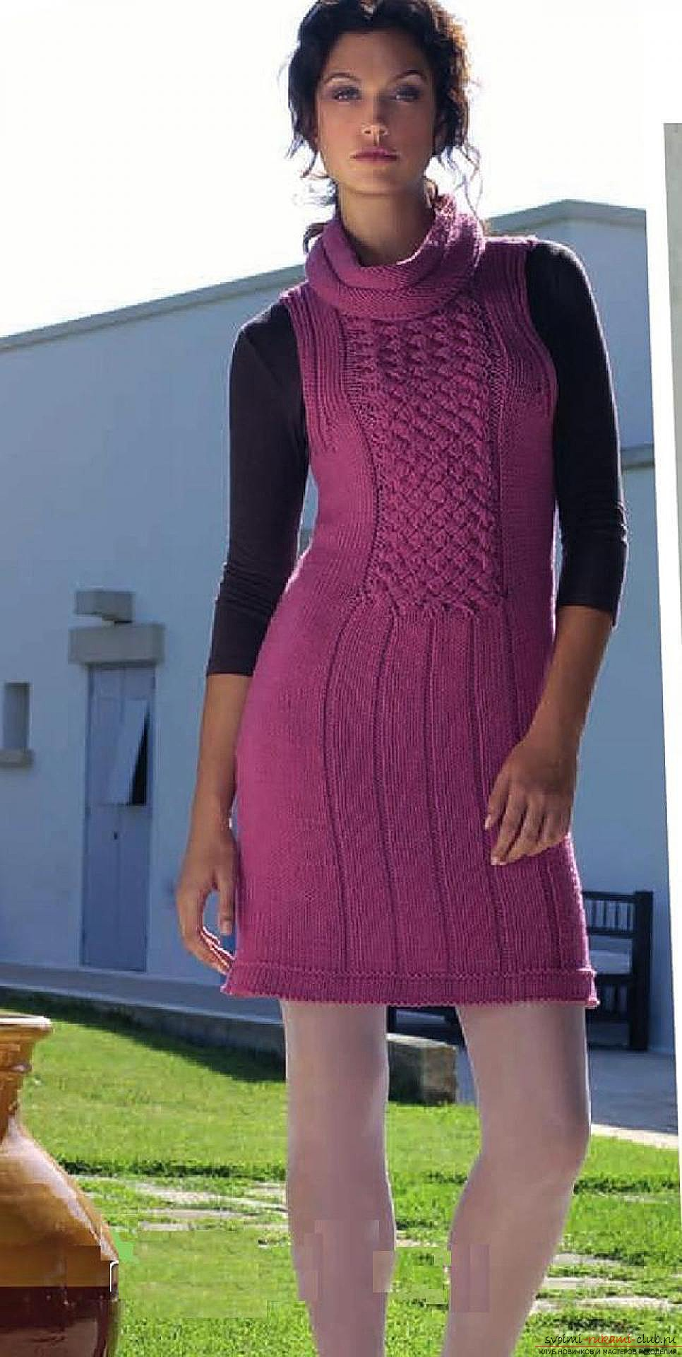 knitted knitting with an original female tunic. Picture №3