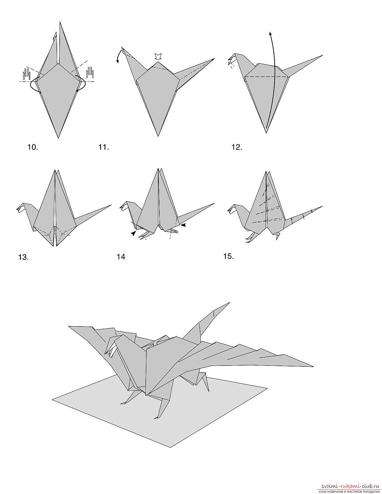 Schemes of a dragon made in origami technique. Photo №4
