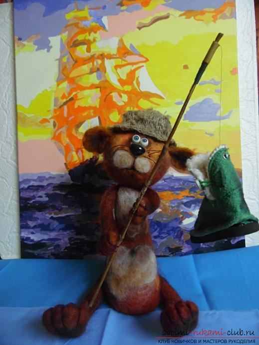 Felted cat-fisher. Photo №1