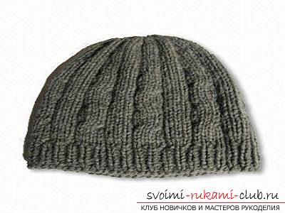 We learn to knit a man's hat with knitting needles according to the scheme. Picture №3
