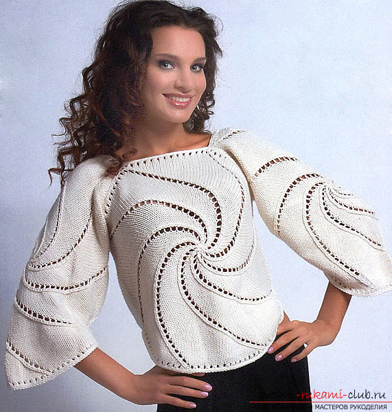 Knitted on knitting needles a staggering Swirl sweater. Photo №1