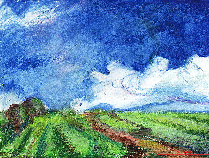 Drawing a landscape with oil pastel. Photo №4