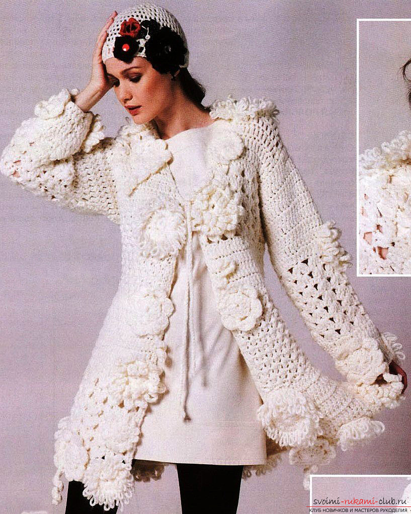 women's coats knitted with knitting needles. Photo # 2