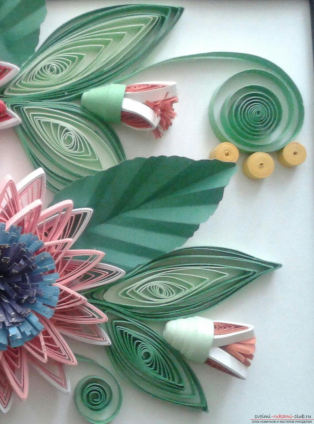 This detailed master-class will acquaint you with quilling technique, teach you how to make quilling flowers and quillings. Picture №12