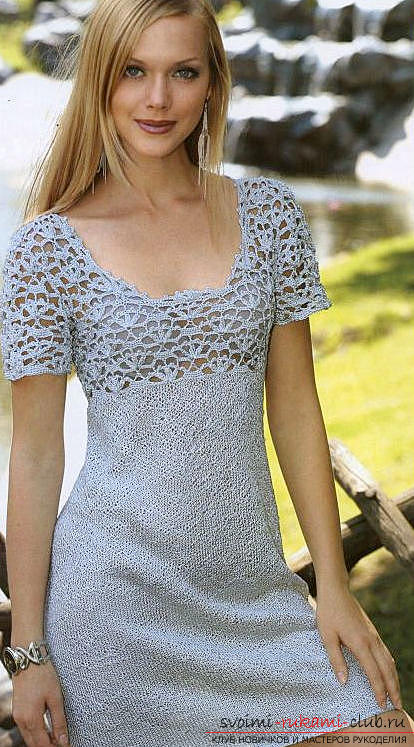 An original mini dress, knitted with needles. Photo №1