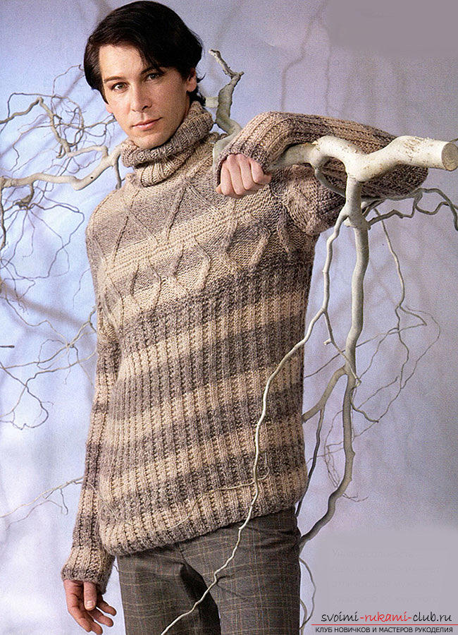 Elegant men's pullover with knitting needles. Photo №4